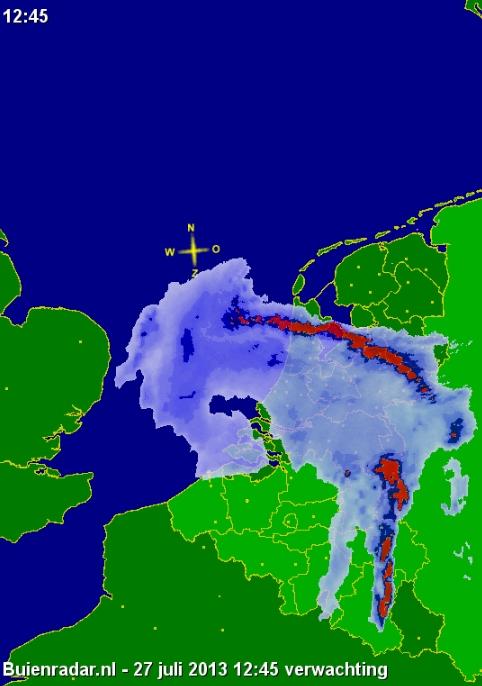 Extreem weer voorspelt, rond 12.25 uur over West-Friesland