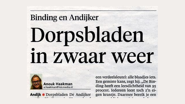 Stichting Binding: Onjuist beeld in artikel NHD