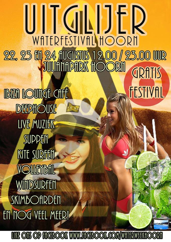 Gratis waterfestival Uitglijer in Julianapark Hoorn