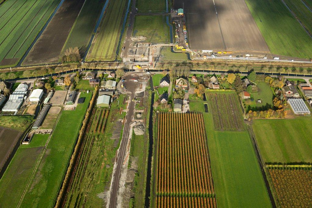 Luchtfoto werkzaamheden N23 Westfisiaweg Hoogkarspel