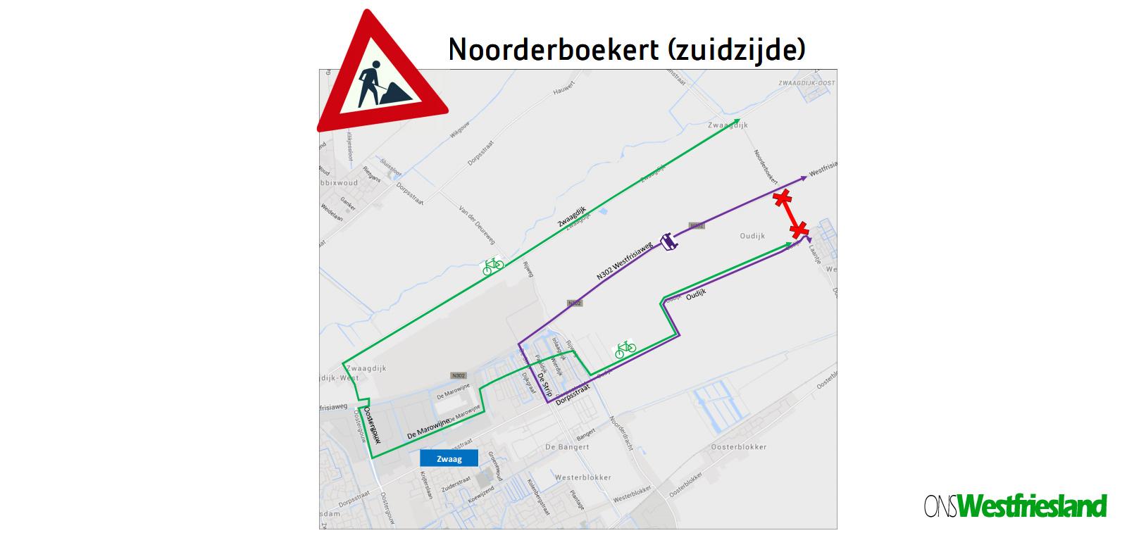 Avond van 30 mei Noorderboekert afgesloten, fietsers 11km omrijden