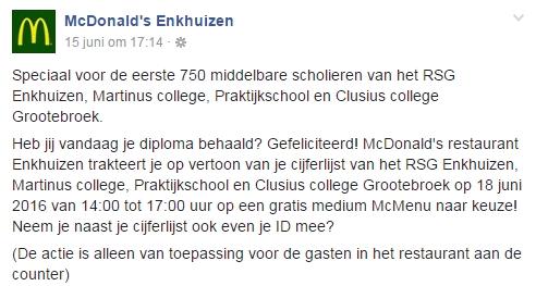 McDonald's Enkhuizen verslikt zich in facebookactie