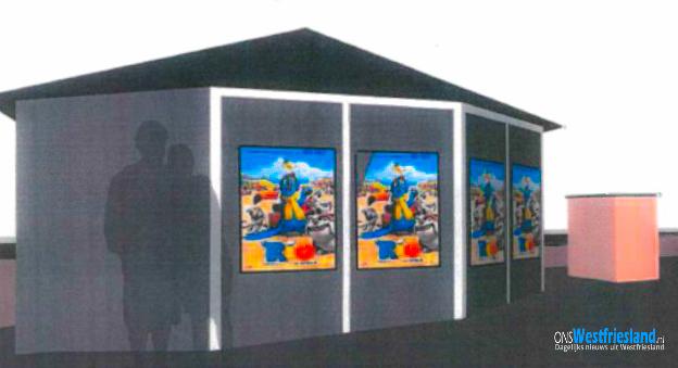 Posters op kiosk in plaats van LED scherm op Oostereiland