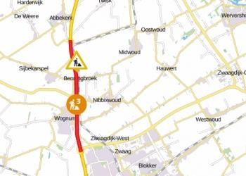 Toerit 10 A7 bij Wognum twee nachten afgesloten