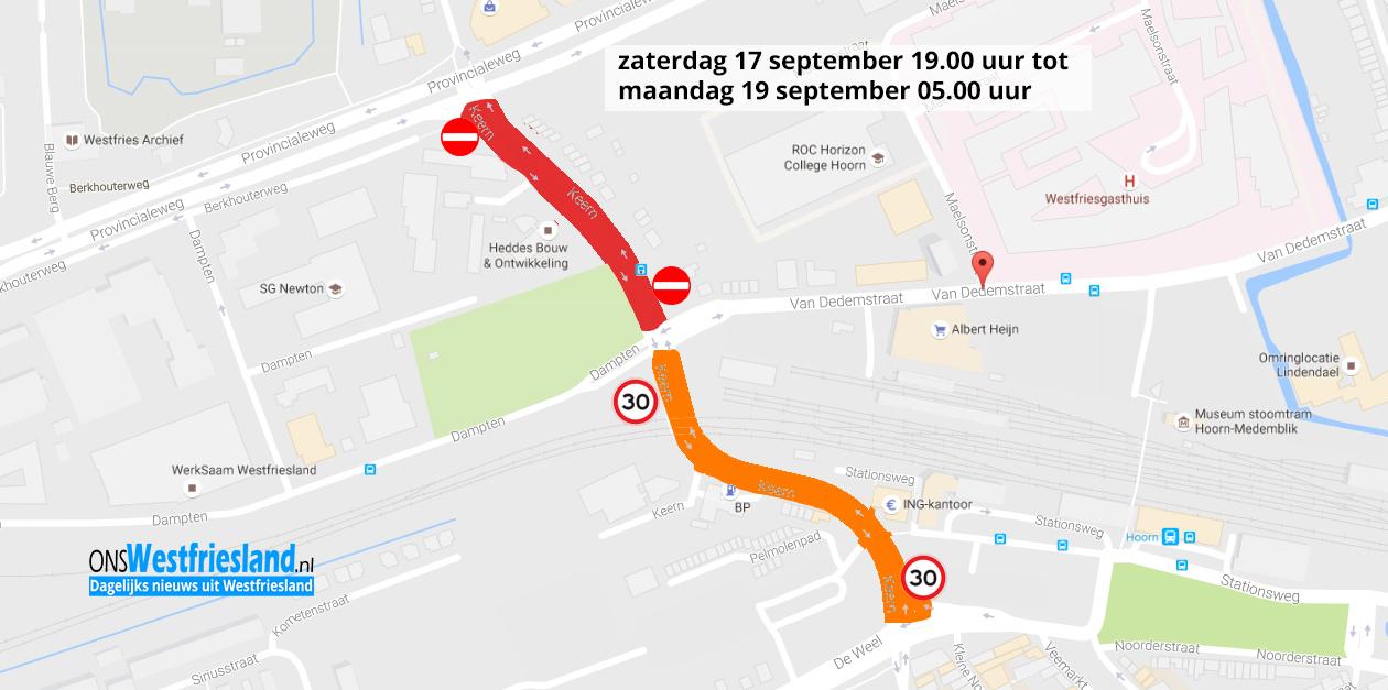 Verkeershinder bij werkzaamheden Keern in binnenstad Hoorn