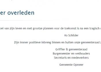 Opmeer: Raadslid Ko Schilder overleden na ongeluk AC de Graafweg