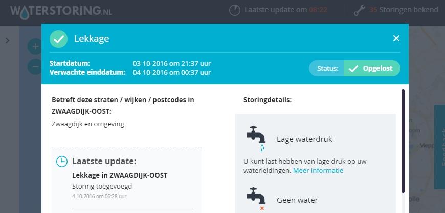 Waterleiding gesprongen bij Zwaagdijk