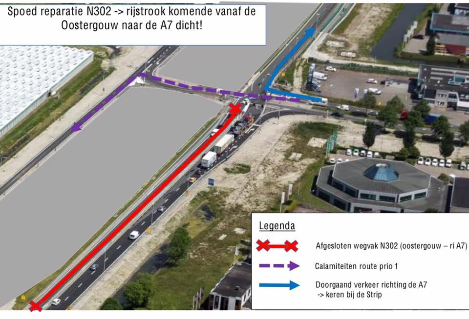 Nachtje omrijden vanaf Oostergouw richting A7 afslag Hoorn Noord