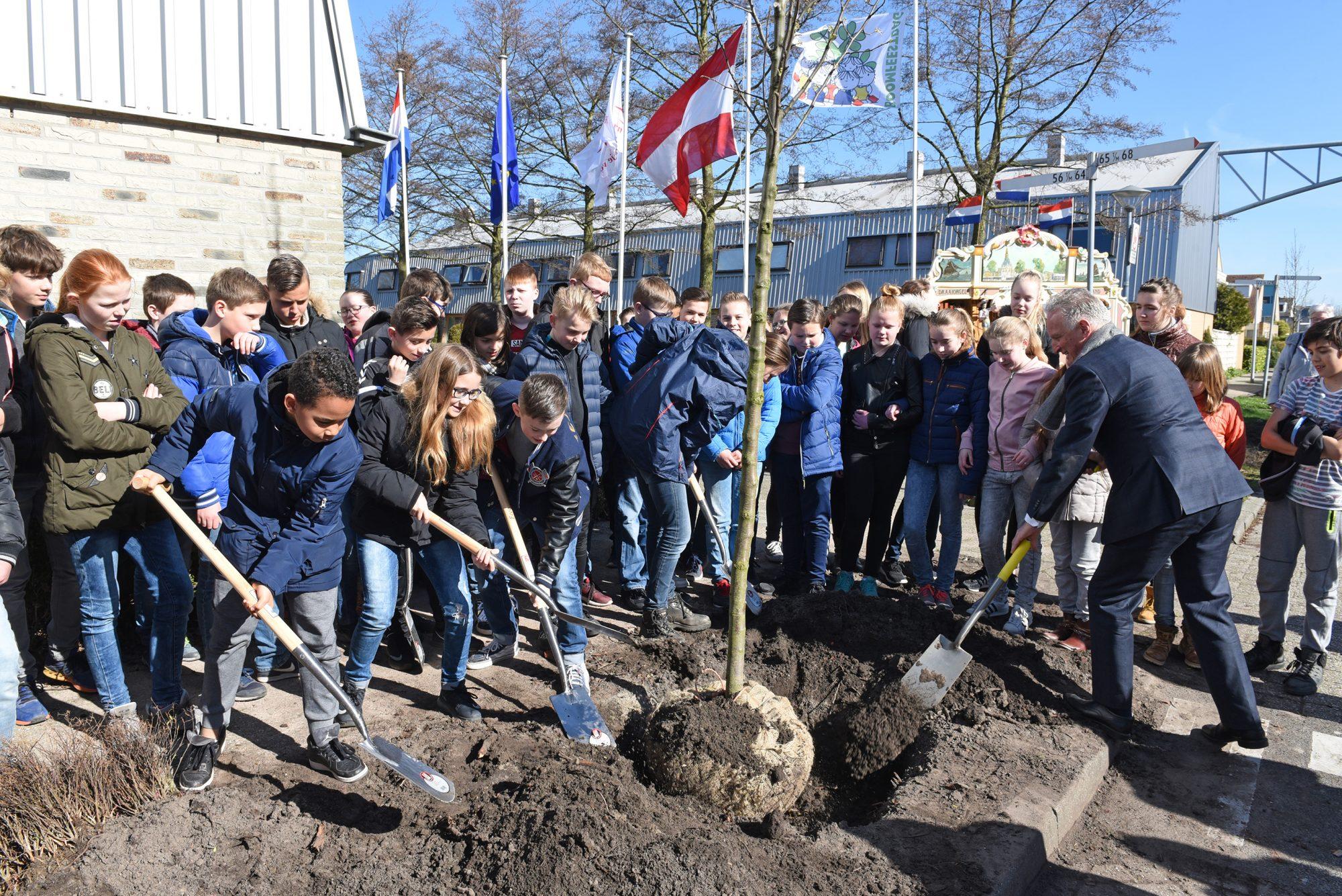 Kinderen planten 43 bomen tijdens Boomfeestdag in Hoorn