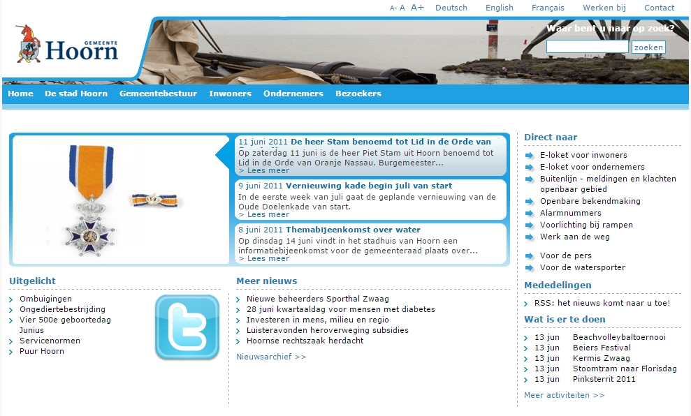 Gemeente Hoorn lanceert in mei nieuwe website hoorn.nl