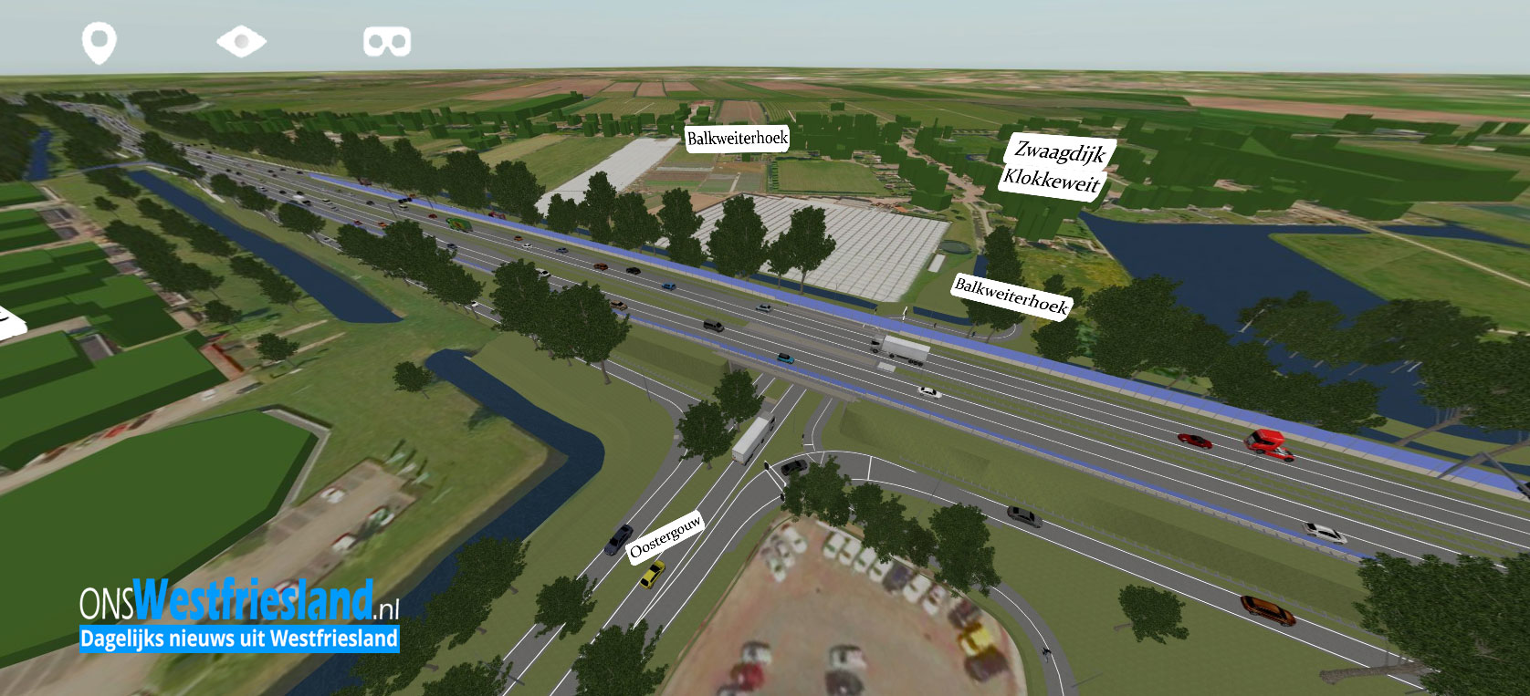 Nieuwe visualisatie N23 Westfrisiaweg te bekijken met VR bril