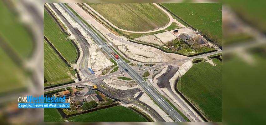 Tijdelijk andere wegindeling N507 bij nieuwe rotonde Wogmeer
