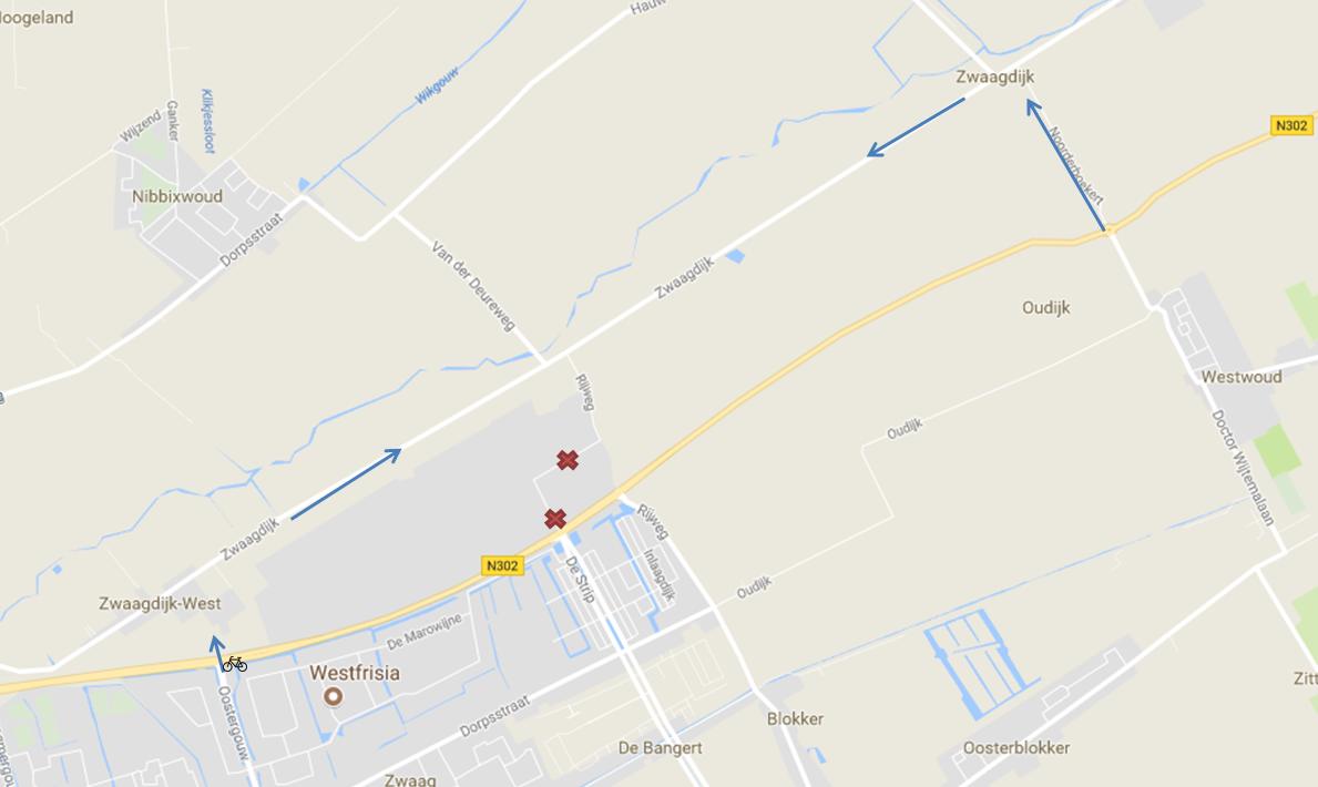 Bedrijventerrein 't Zevenhuis komende weken niet via Westfrisiaweg