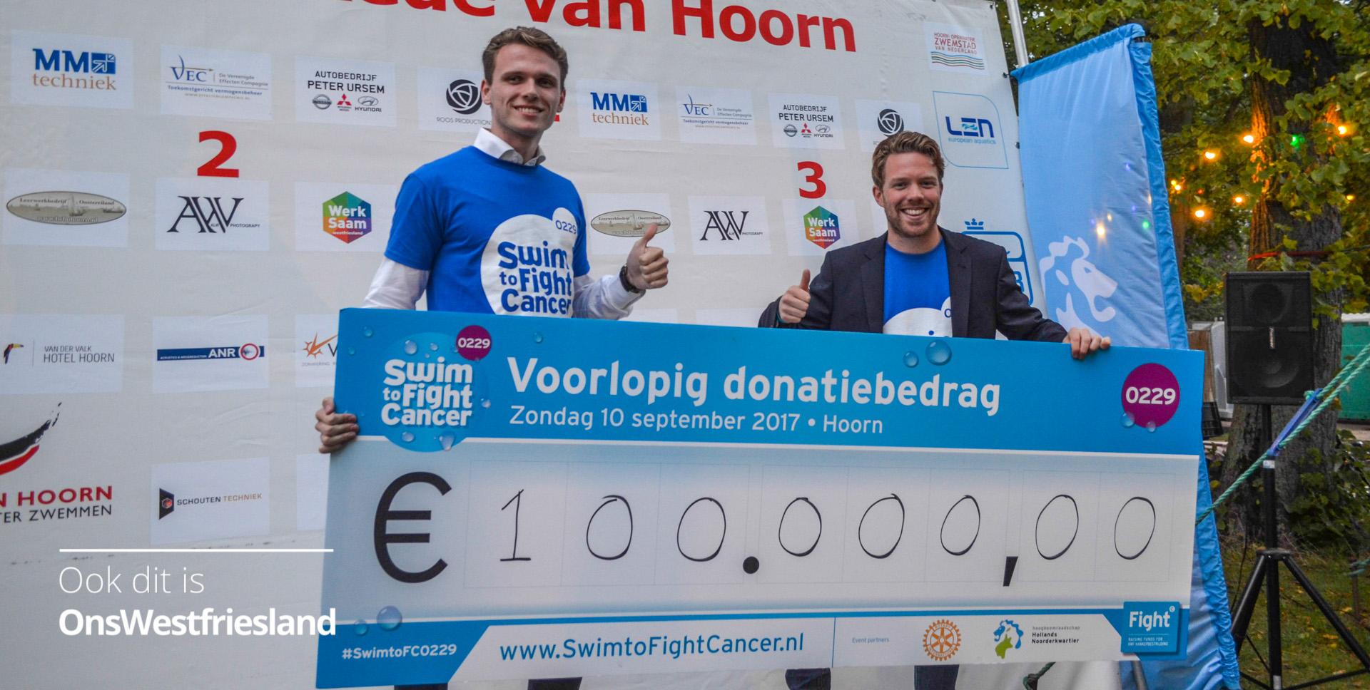 Swim To Fight Cancer Hoorn zwemt over de 100.000 bij elkaar
