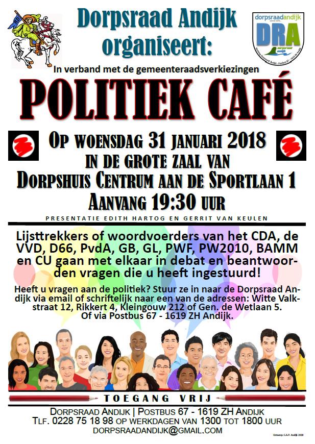 Woensdag 31 januari Politiek Café in Andijk.