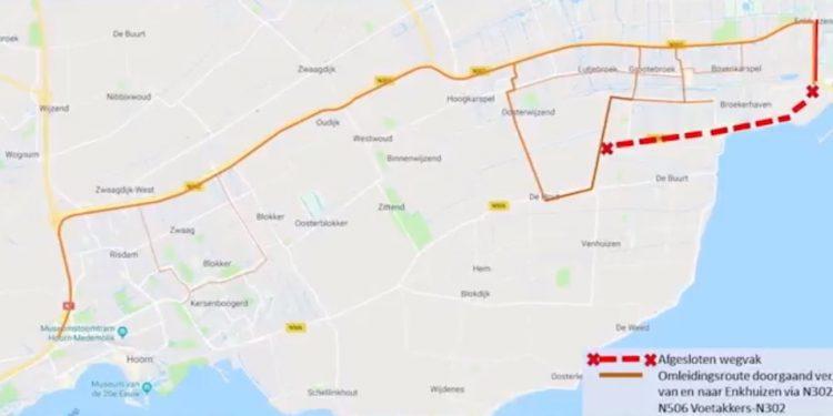 Afsluiting N506 tussen Lutjebroek en kruispunt N302/Enkhuizen
