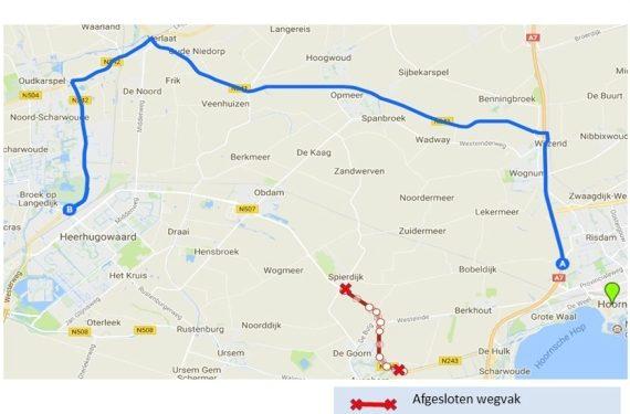 Weekendafsluiting Braken (N507) tussen Spierdijk en N243 in Avenhorn
