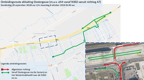 Drie weken afsluitingen Oostergouw/N302 in Zwaag