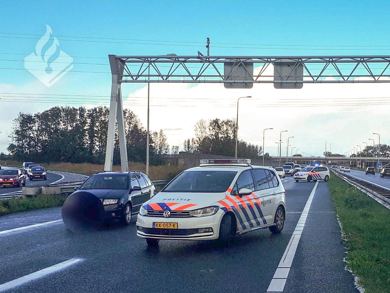 Aanrijding op A7 bij Hoorn Noord tijdens hagelbui