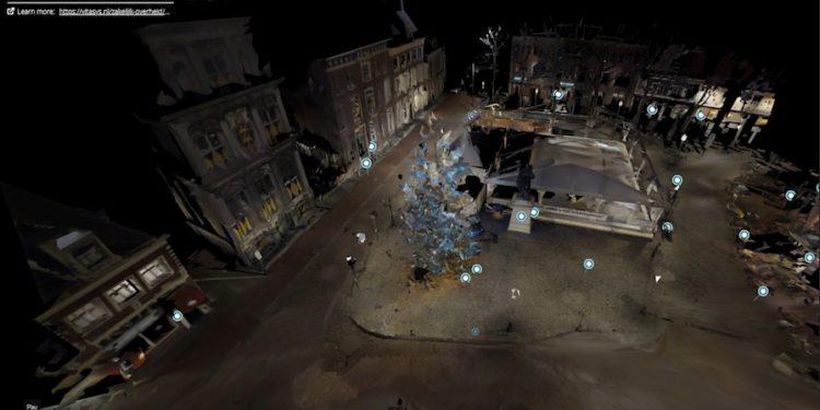 Virtueel over Roode Steen met kerstboom en ijsbaan