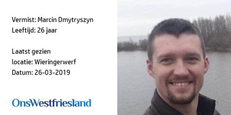 Marcin Dmytryszyn (26) uit Wieringerwerf een maand vermist