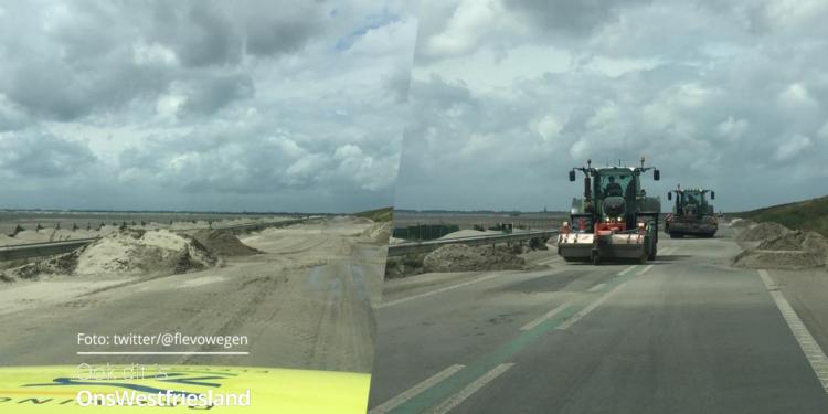 Nog tot 2 maanden kans op zandverstuiving op Houtribdijk N307