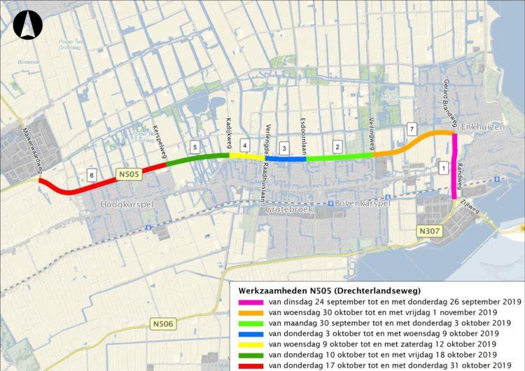 Vanaf 23 september t/m 1 november werkzaamheden N505 Enkhuizen – Hoogkarspel