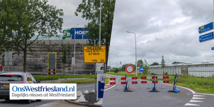 Slagboom aangereden; Afslag Oostergouw naar A7 dicht