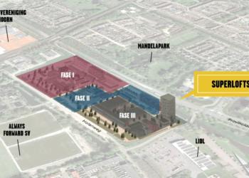 Schets plan Holenkwartier in Hoorn met Superlofts in woontoren