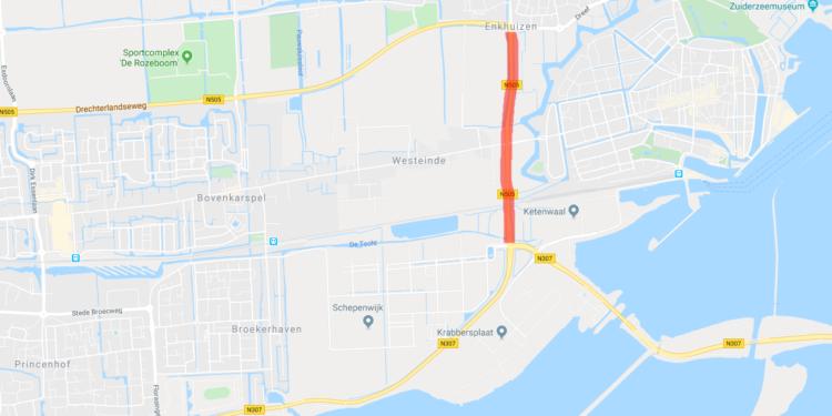 Woensdag afsluiting deel N505 bij Enkhuizen