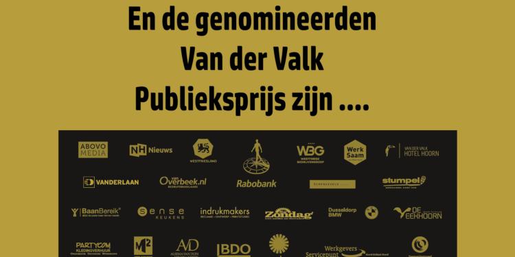 Genomineerden Van der Valk Publieksprijs zijn bekendgemaakt