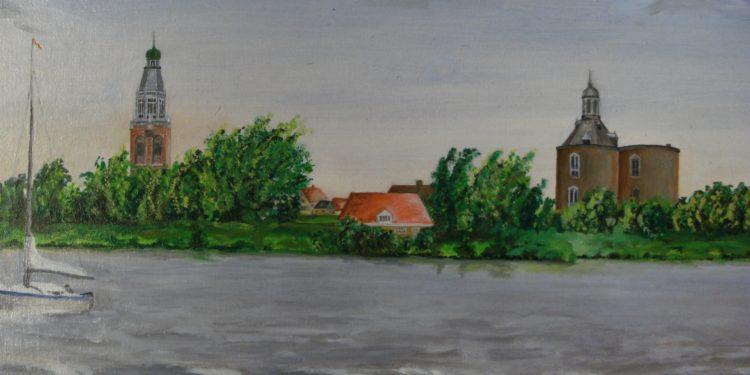 Expositie schilderwerken Pierre Derix uit Andijk in Postkantoor