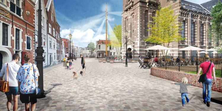 Vernieuwd Kerkplein met nieuwe bestrating, bankjes en waterelementen