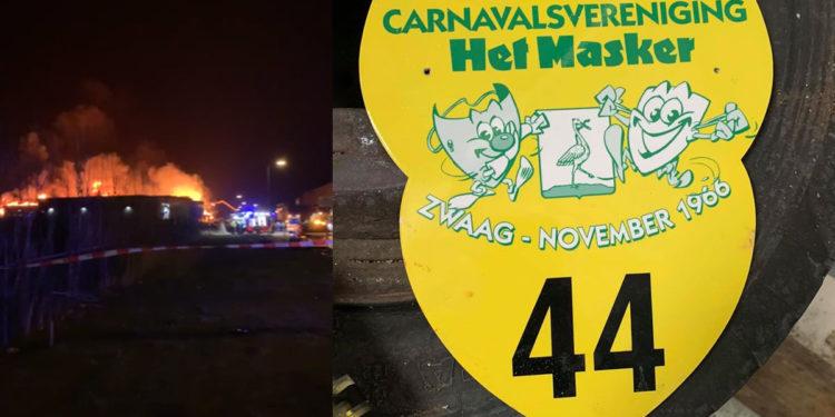 Spannende dagen voor carnavalsgroep Partypoppers; Bouwschuur naast brand op Zevenhuis