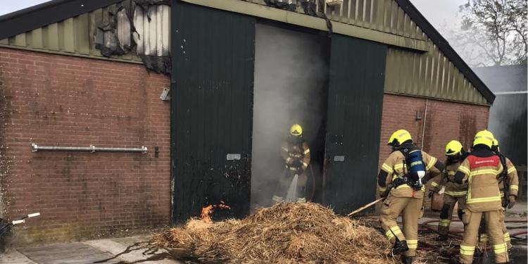 Hooibrand in schuur in Twisk; Konijn loopt brandwonden op