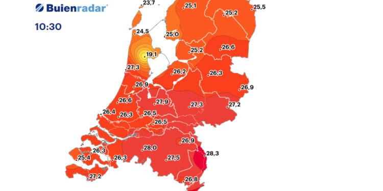 Heel even was Berkhout het veruit koelste plekje van Nederland