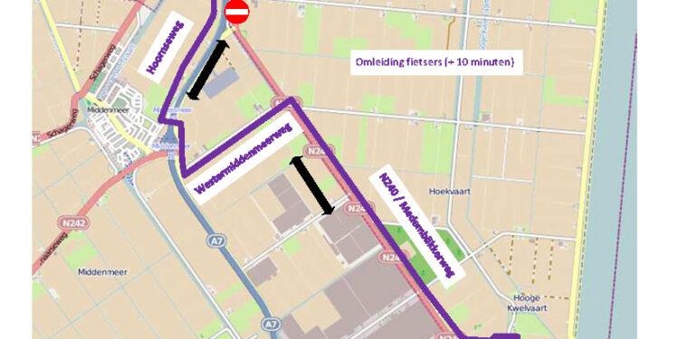 Werkzaamheden aan de Medemblikkerweg (N240) t/m begin december