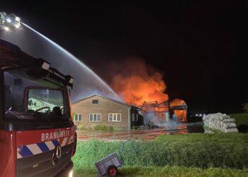 Grote brand verwoest bollenschuren aan de Meeweg in Hem