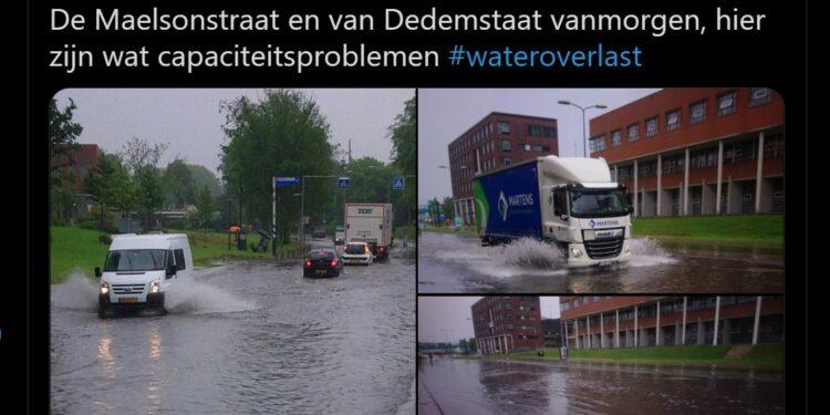 Straten blank, fotowinkel vol water; Hoosbui in en rond Hoorn