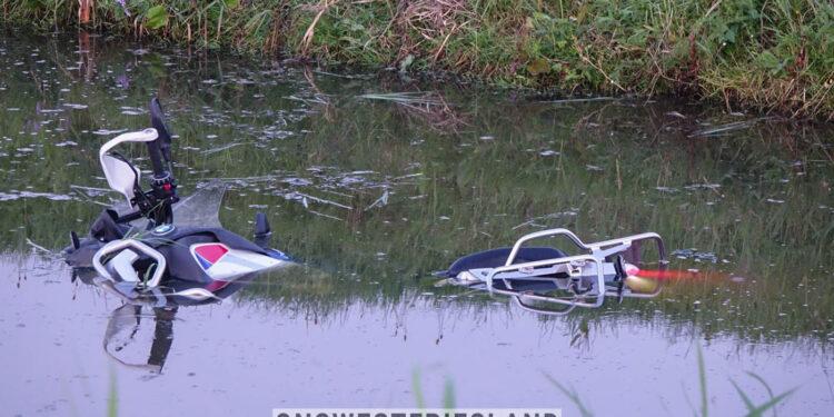 Motorrijder te water geraakt op N506 bij Venhuizen